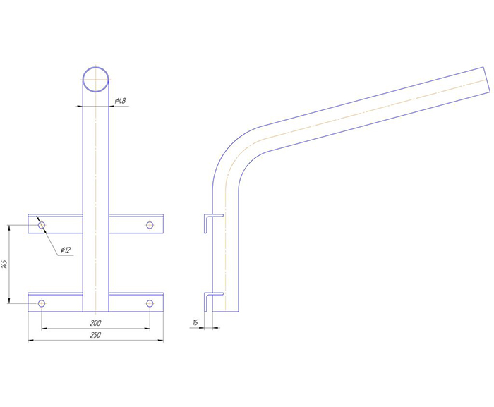 Кронштейн приставной для консольных светильников и квадратных опор освещения
